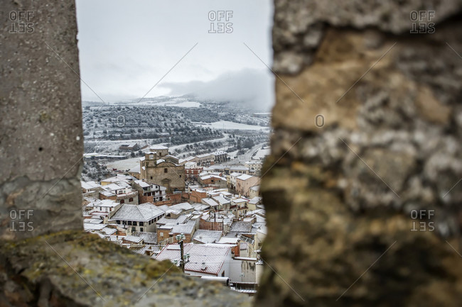 Town Covered With Snow In Catalunya, Spain