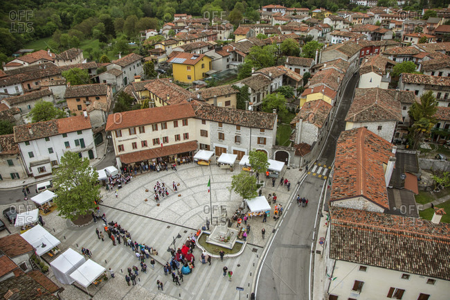 Dardago, Friuli, Italy - May 3, 2015: The Grande Piazza , Dardago, Italy