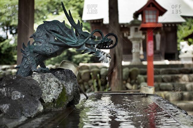 Dragon Fountain In Temple At Irumw-shi, Japan