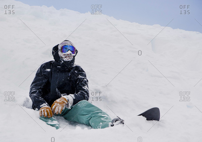 A Snowboarder's Face Covered In Snow At Cerro Catedral, Argentina