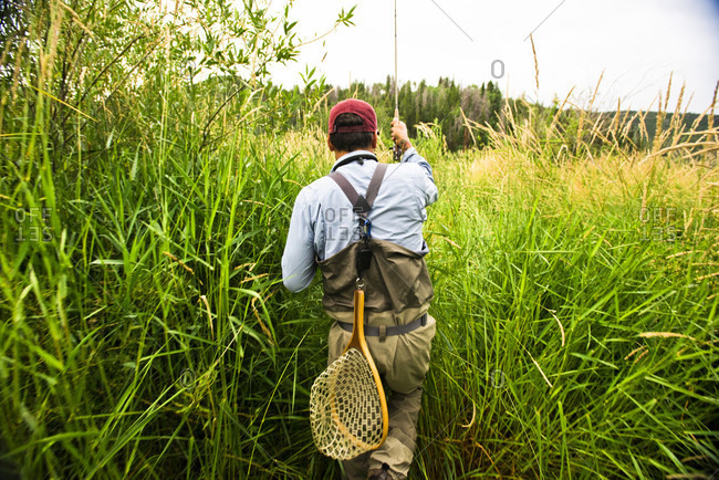 A Fly Fisherman Walks Through Tall Grass On His Way To The Yampa River, Colorado.