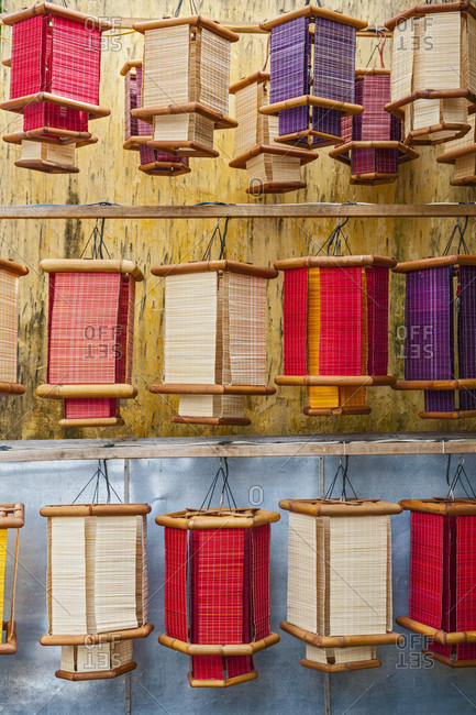 Lantern Hanging In Row For Sale At Street Shop In Hoi An