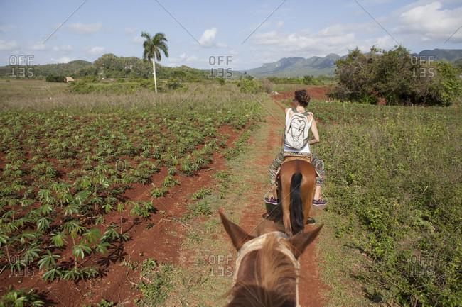 Girl Riding A Horse In Field Of Vinales Region In Cuba