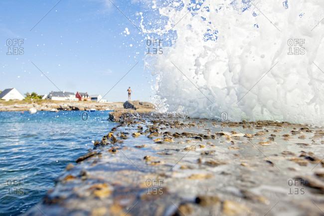 View Of Water Splashing In Ile De Groix