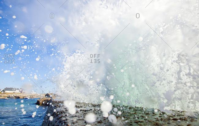 Close-up Of Water Splashing In Ile De Groix