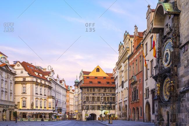 Prague, Prague, Czech Republic - May 23, 2016: Old Town Hall On Staromestske Namesti At Dawn