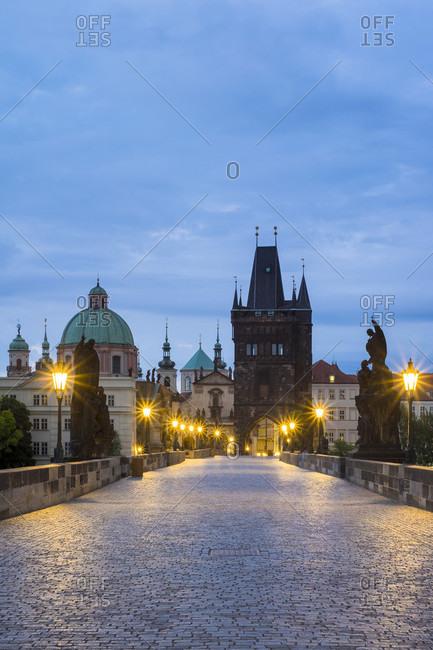 View Of Illuminated Charles Bridge At Czech Republic, Prague