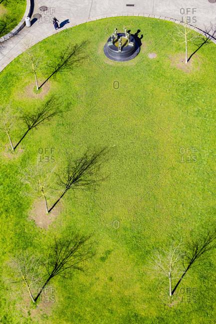 Aerial View Of Urban Park In Emile Braunplein, Ghent, Belgium