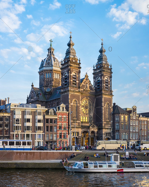 Amsterdam, Noord-Holland, Netherlands - May 6, 2016: View Of The Basilica Of Saint Nicholas In Amsterdam, Netherlands