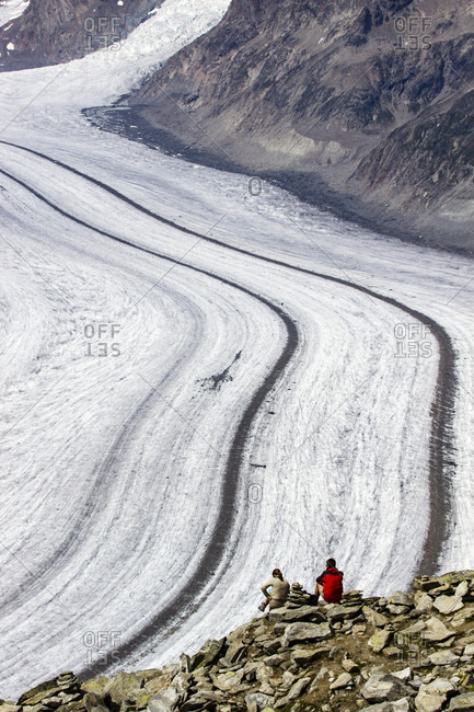 View Of The Aletsch Glacier Between The Canton Of Bern And The Canton Of Valais