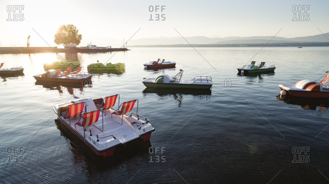 View Of Pedal Boats On Lake Geneva