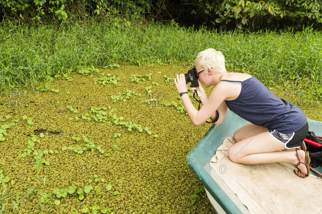 Young Girl Taking Picture Of Caiman In Tortuguero National Park