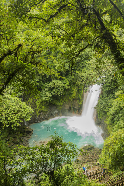 High Angle View Of Rio Celeste Waterfall In Costa Rica