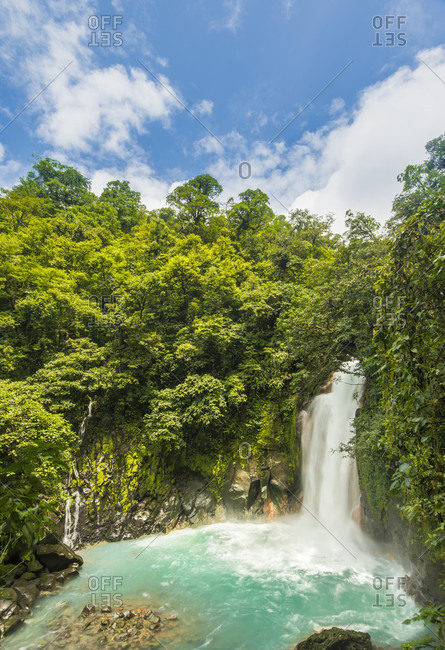 Rio Celeste Waterfall Contains A High Mineral Content Giving Its Radiant Blue