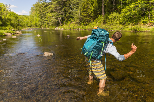 Skimming Stone On The Pleasant River In Appalachian Trail