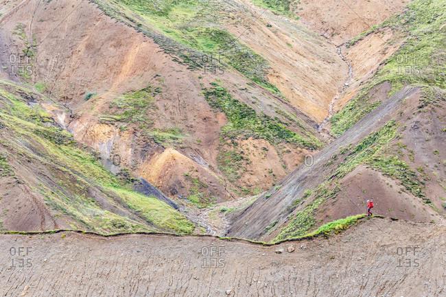 Female Hiker Hiking On Delta Mountains In Alaska Range, Alaska, Usa
