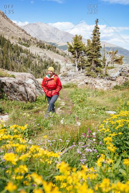 Female Hiker Hiking On Bluebird Lake Trail In Rocky Mountain National Park, Colorado, Usa