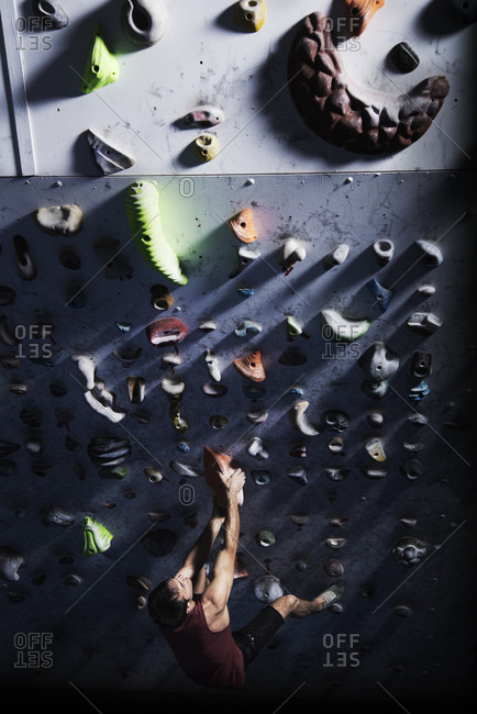 Athlete Man Being Trained At Indoor Climbing Centre