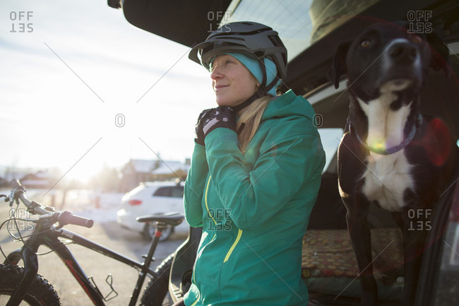 A Woman After A Winter Ride On Her Fat Bike