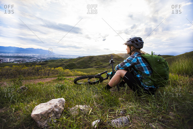 A Woman Looking At The Sunset Along The Bonneville Shoreline Trail