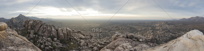 A Panoramic View Of The Bouldering Landscape In Chihuahua, Mexico
