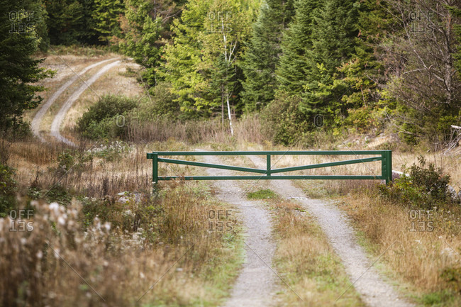 A Closed Gate On Dirt Road In Northern Maine