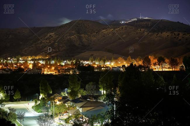 Community of Porter Ranch in California at night