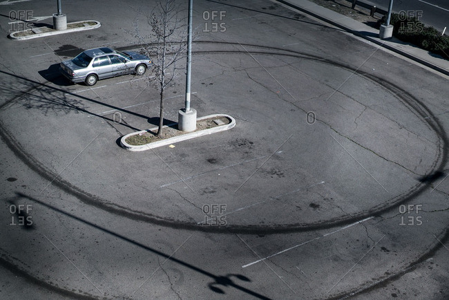 Elevated view of parking lot with rings in the blacktop