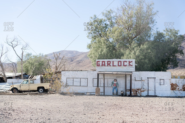 October 8, 2016 - Garlock, California: Sheriff statue in historic ghost town