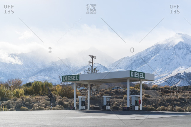 Abandoned gas pumps in desert