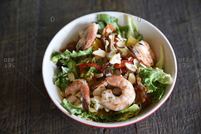 Shrimp on a salad