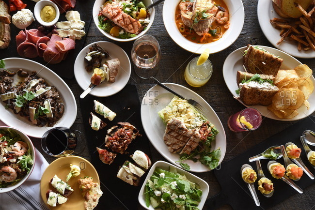 Variety of restaurant dishes from above