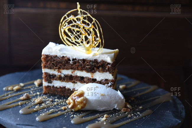 Cake with ornate topping