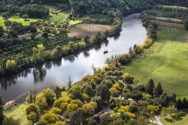 View of La Dordogne River Valley from Les Jardins de Marqueyssac, Dordogne, France
