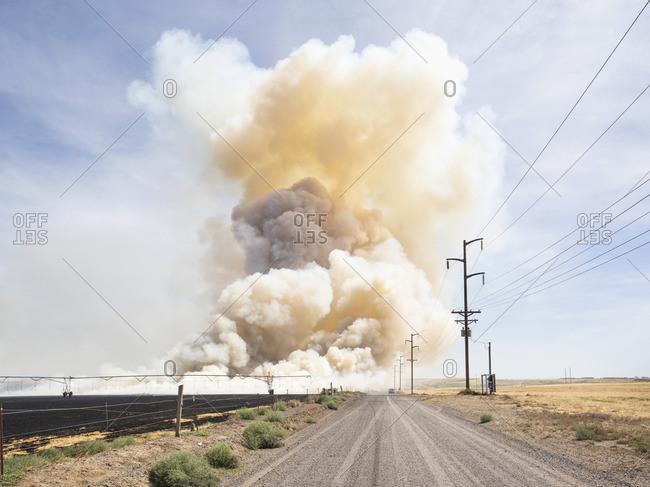 Prescribed burn in field, Central Oregon