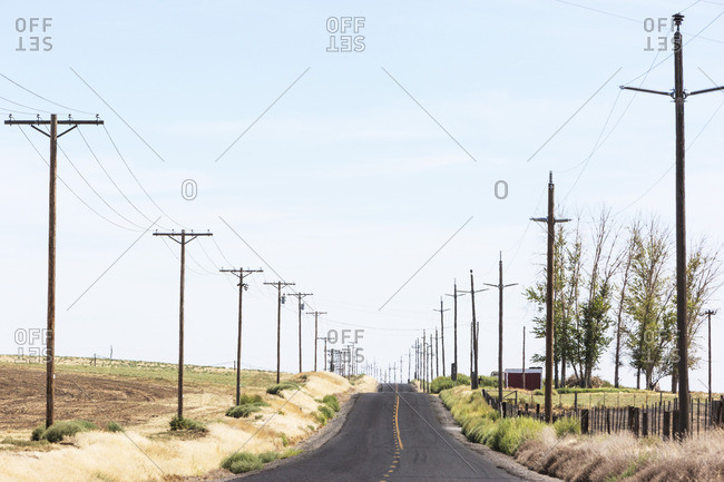 Empty road lined with power lines, central Idaho