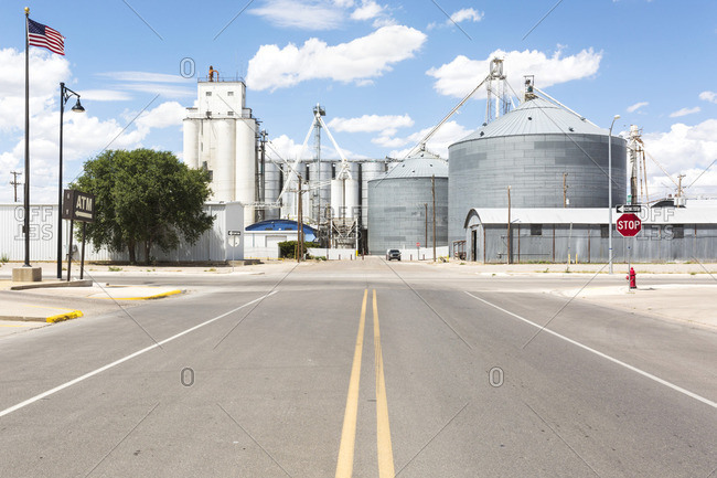 Grain silos in downtown Portales, New Mexico