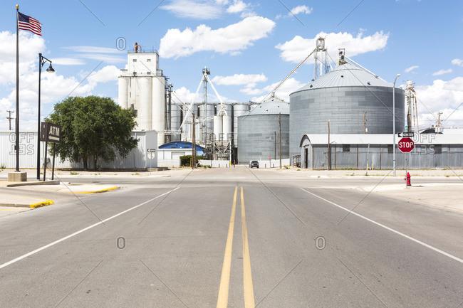 Grain silos in downtown Portales, New Mexico