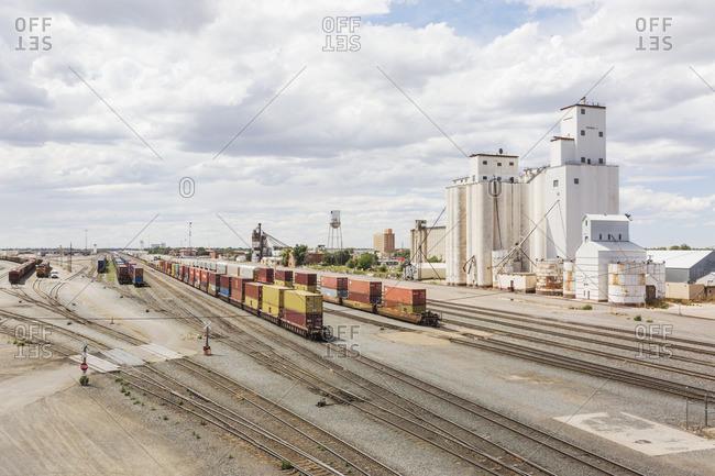 Clovis, New Mexico - August 23, 2016: Silos near rail yard