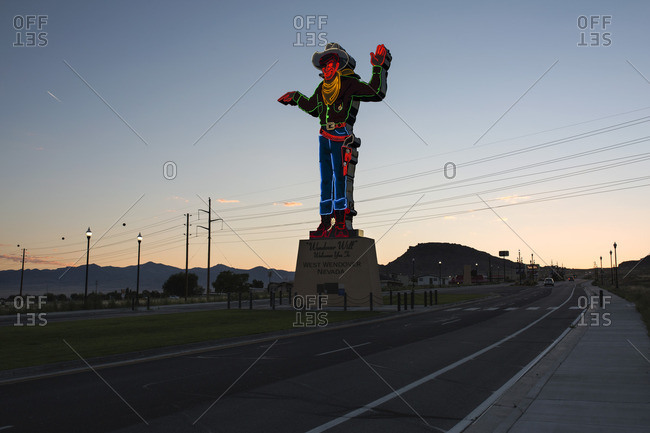 West Wendover, Nevada - August 28, 2016: Wendover Willy neon sign at sunset