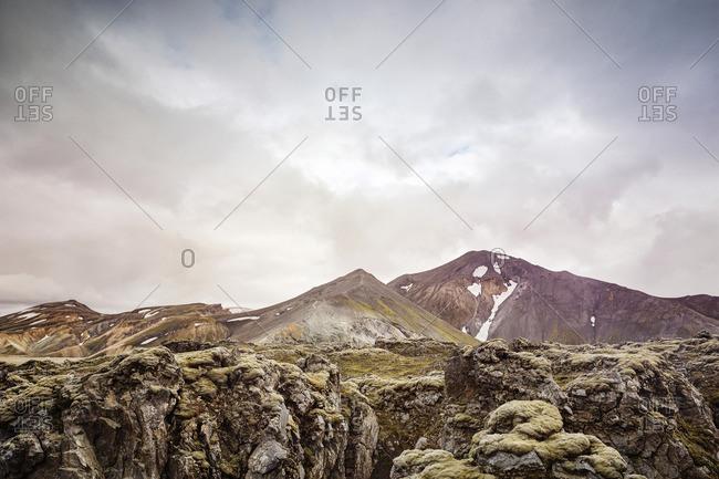 Rocky terrain in mountain landscape in Iceland