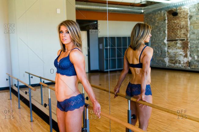 Woman in underwear in dance studio