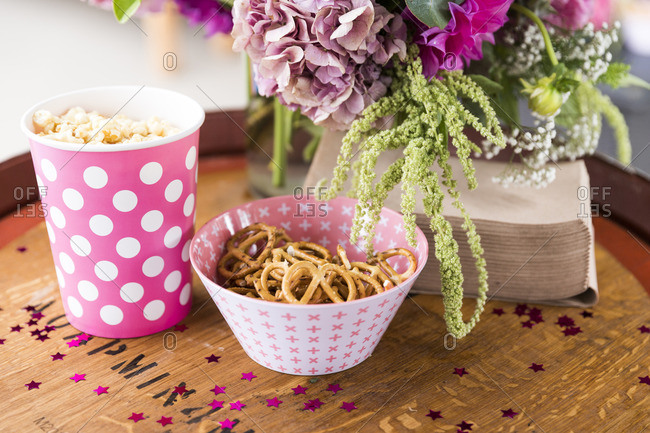 Flowers and snack in festive setting