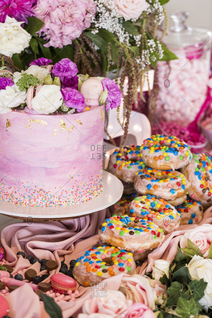Cake and cookies with flowers