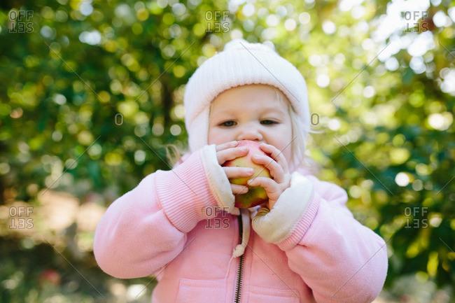 Toddler girl taking bite of apple outdoors