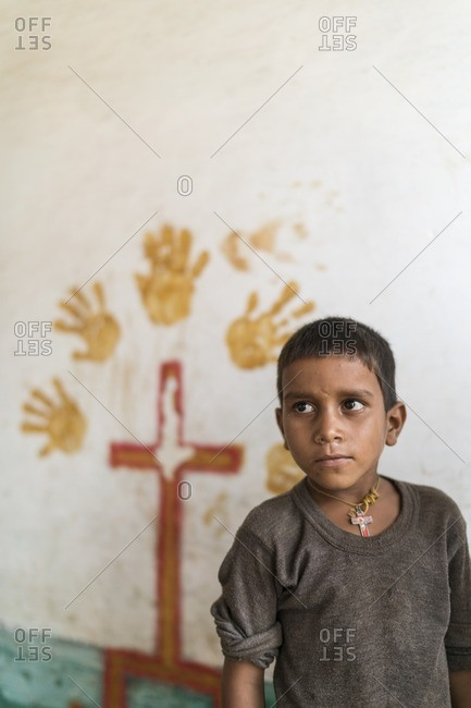 Udaipur, India - June 29, 2016: Minority Christian boy in Udaipur, India
