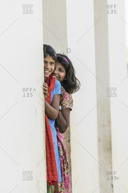 Udaipur, India - June 29, 2016: Young girls in Udaipur, India