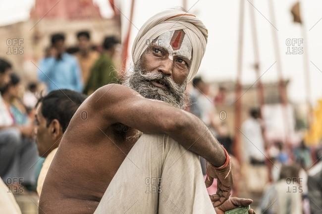 Varanasi, India - July 7, 2016: Hindu Sadu, or holy man, in the city of Varanasi