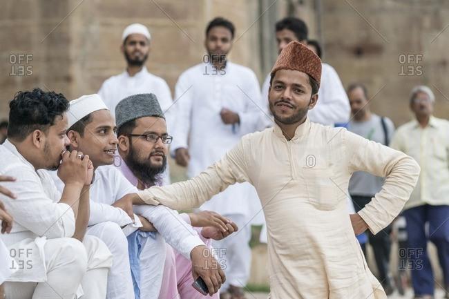Varanasi, India - July 7, 2016: Muslim youth in Varanasi along the Ganges River