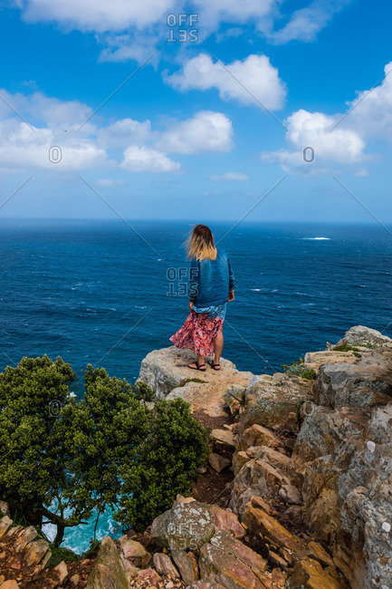 Woman overlooking Cape of Good Hope